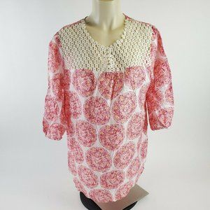 Calypso Womens Silk Embroidered Chest 3/4 Sleeve T